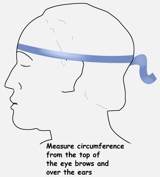 head circumference for DJO hat trick