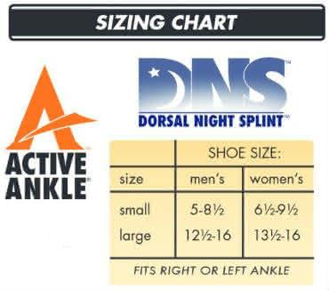 active ankle dorsal night splint sizing