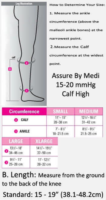 assure by med calf high 15-20 closed toe sizing