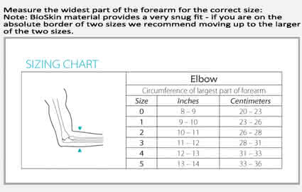 bioskin tennis elbow skin sizing