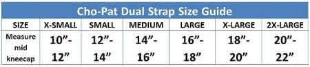 cho pat dual knee strap sizing