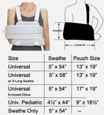 deroyal deluxe sling and swathe sizing