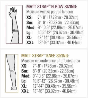 hely weber matt strap elbow knee 3704 sizing