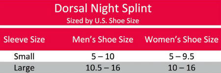 Active Ankle Dorsal Night Splint DNS sizing