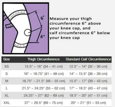 crossover pt knee brace sizing