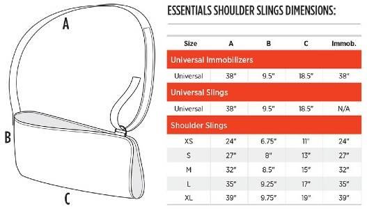 Breg Essential Shoulder Sling sizing