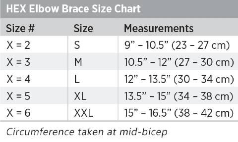 Breg HEX Elbow Brace sizing
