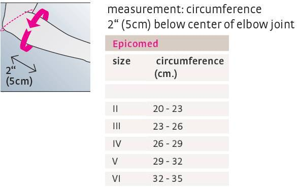 Medi Epicomed Elbow Support sizing