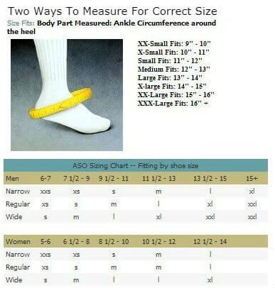 MedSpec ASO EVO Speed Lacer Ankle Brace sizing