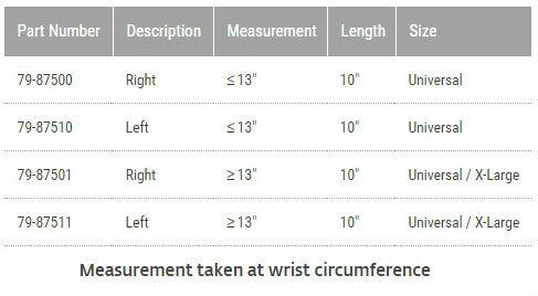 Procare Quick Fit Wrist & Forearm Brace sizing