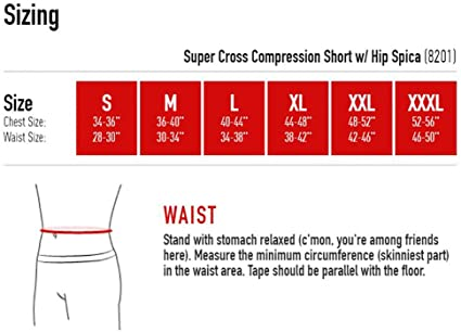 McDavid Super Cross Compression Shorts with Hip Spica sizing